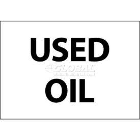 "NMC M750AP Hazardous Materials Sign, Used Oil, 3"" X 5"", White/Black"