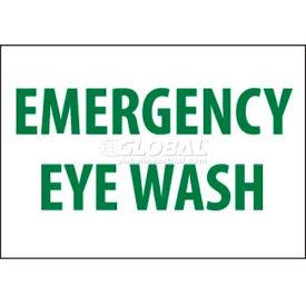 "NMC M81PB Sign, Emergency Eye Wash, 10"" X 14"", White/Green"