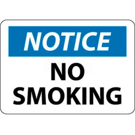 "NMC N166PB OSHA Sign, Notice No Smoking, 10"" X 14"", White/Blue/Black"