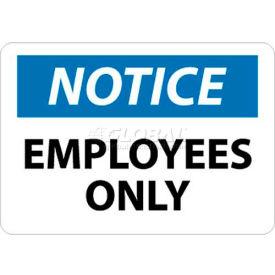 "NMC N215RB OSHA Sign, Notice Employees Only, 10"" X 14"", White/Blue/Black"