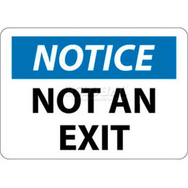"NMC N324RB OSHA Sign, Notice Not An Exit, 10"" X 14"", White/Blue/Black"