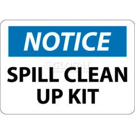 "NMC N345PB OSHA Sign, Notice Spill Clean Up Kit, 10"" X 14"", White/Blue/Black"