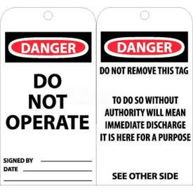"NMC RPT1 Tags, Danger Do Not Operate, 6"" X 3"", White/Red/Black, 25/Pk"