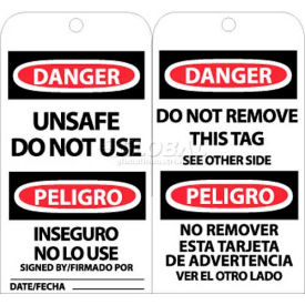 """NMC RPT154 Tags, Unsafe Do Not Use, Bilingual, 6"""" X 3"""", White/Red/Black, 25/Pk"""