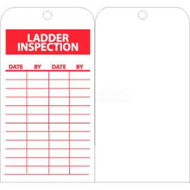 "NMC RPT168 Tags, Ladder Inspection, 6"" X 3"", White/Red, 25/Pk"