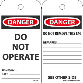 """NMC RPT1A Tags, Danger Do Not Operate, 6"""" X 3"""", White/Red/Black, 25/Pk"""