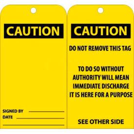 "NMC RPT28G Tags, Caution, 6"" X 3"", Yellow/Black, 25/Pk"