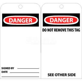 """NMC RPT30 Tags, Danger, 6"""" X 3"""", White/Red/Black, 25/Pk"""
