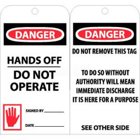 """NMC RPT33 Tags, Danger Hands Off Do Not Operate, 6"""" X 3"""", White/Red/Black, 25/Pk"""