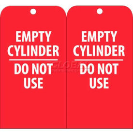 """NMC RPT35 Tags, Empty Cylinder Do Not Use, 6"""" X 3"""", White/Red, 25/Pk"""
