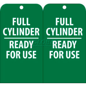 """NMC RPT36 Tags, Full Cylinder Ready For Use, 6"""" X 3"""", White/Green, 25/Pk"""