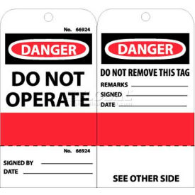 """NMC RPT499 Tags, Do Not Operate (Perforated), 6"""" X 3"""", White/Red/Black, 25/Pk"""