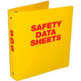 "NMC RTK63, Safety Data Sheet Binder, 3"" Rings, 3/8"" Hole in Spine, Yellow by"