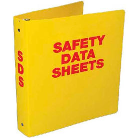"Click here to buy NMC RTK63C, Safety Data Sheet Binder, 3.5"" Rings, 3/16"" Hole in Spine, Yellow."