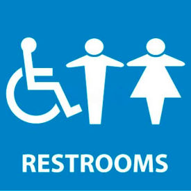 "NMC S75R See Sign, Restrooms, 7"" X 7"", White/Blue"