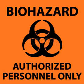 "NMC S93R See Sign, Biohazard Authorized Personnel Only, 7"" X 7"", Orange/Black"