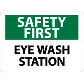 "NMC SF181PB OSHA Sign, Safety First - Eye Wash Station, 10"" X 14"", White/Green/Black"