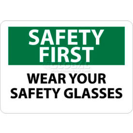 """NMC SF39RB OSHA Sign, Safety First - Wear Your Safety Glasses, 10"""" X 14"""", White/Green/Black"""