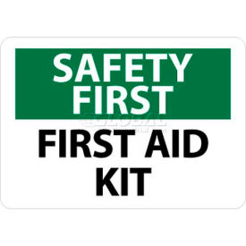 "NMC SF41R OSHA Sign, Safety First - First Aid Kit, 7"" X 10"", White/Green/Black"
