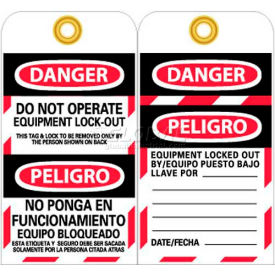 "NMC SPLOTAG11-25 Tags, Do Not Operate Equipment Lock Out, Bilingual, 6"" X 3"", White/Red/Black, 25/Pk"