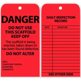 """NMC SVT1 Tags, Danger Do Not Use This Scaffold, Keep Off, 6"""" X 3"""", Red, 25/Pk"""