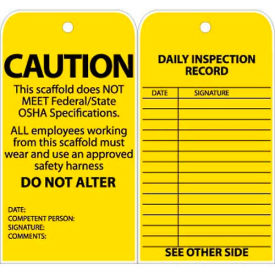 """Tags, Caution This Scaffold Does Not Meet Federal/State OSHA Specifications, 6"""" X 3"""", Yellow, 25/Pk"""