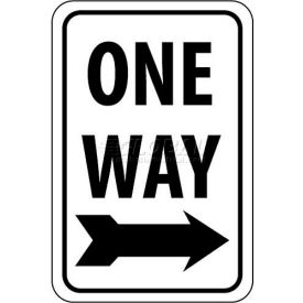"NMC TM116J Traffic Sign, One Way With Right Arrow, 24"" X 18"", White/Black"
