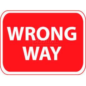 "NMC TM133J Traffic Sign, Wrong Way, 18"" X 24"", White/Red"