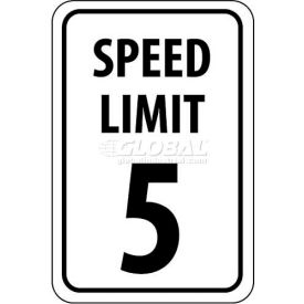 "NMC TM17G Traffic Sign, 5 MPH Speed Limit Sign, 18"" X 12"", White/Black"