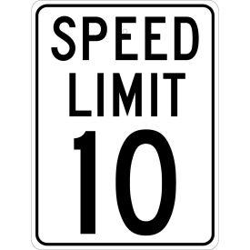 "NMC TM18J Traffic Sign, 10 MPH Speed Limit Sign, 24"" X 18"", White/Black"