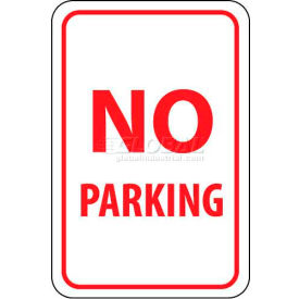 "NMC TM1G Traffic Sign, No Parking, 18"" X 12"", White/Red"