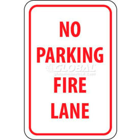 "NMC TM3G Traffic Sign, No Parking Fire Lane, 18"" X 12"", White/Red"