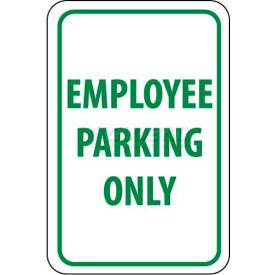 "NMC TM52G Traffic Sign, Employee Parking Only, 18"" X 12"", White/Green"