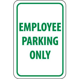 """NMC TM52H Traffic Sign, Employee Parking Only, 18"""" X 12"""", White/Green"""