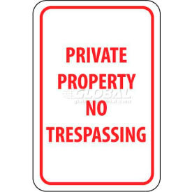 "NMC TM59G Traffic Sign, Private Property No Trespassing, 18"" X 12"", White/Red"