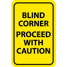 "NMC TM71G Traffic Sign, Blind Corner Proceed With Caution, 18"" X 12"", Yellow/Black"