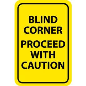 "NMC TM71G Traffic Sign, Blind Corner Proceed With Caution, 18"" X 12"", Yellow/Black"