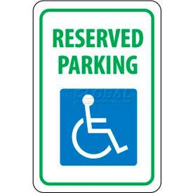 "NMC TM87G Traffic Sign, Reserved Parking, 18"" X 12"", White/Blue/Green"