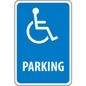 "NMC TM94G Traffic Sign, Parking W/Handicapped Symbol, 18"" X 12"", White/Blue"