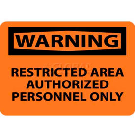 """NMC W10RB OSHA Sign, Warning Restricted Area Authorized Personnel Only, 10"""" X 14"""", Orange/Black"""