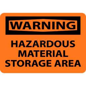 "NMC W285RB OSHA Sign, Warning Hazardous Material Storage Area, 10"" X 14"", Orange/Black"