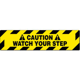 """NMC WFS625 Walk On Floor Sign, Caution Watch Your Step, 6"""" X 24"""", Yellow/Black"""