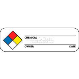 "NMC WOL3 Hazard Warning Labels, 1"" X 3"", Red/Yellow/White/Blue, PSP"