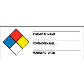 """NMC WOL8ALV NFPA Chemical Label, 1-1/2"""" X 4"""", Red/Yellow/White/Blue, PSV"""