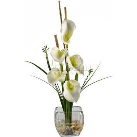 Nearly Natural Calla Lilly Liquid Illusion Silk Flower Arrangement, Cream