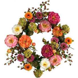 Nearly Natural 24'' Peony Wreath