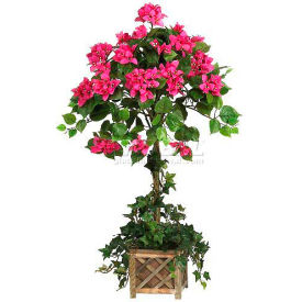 Nearly Natural Bougainvillea Topiary with Wood Box Silk Tree