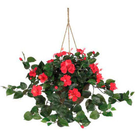Nearly Natural Hibiscus Hanging Basket