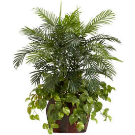 Nearly Natural 3.5' Double Areca with Vase & Pothos Silk Plant