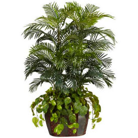 Nearly Natural 4.5' Double Areca with Vase & Pothos Silk Plant